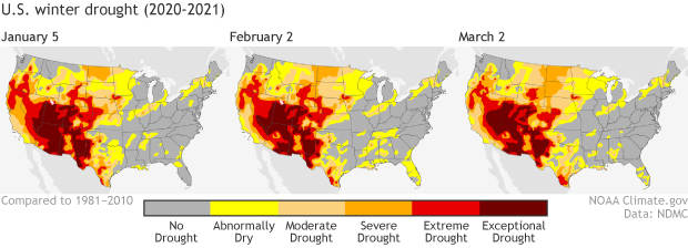 Trio of U.S> maps showing drought conditions as of early Jan 2021, early Feb 2021, and early mar 2021
