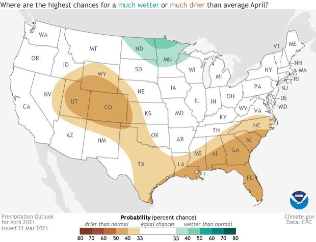Precipitation, outlook, April 2021