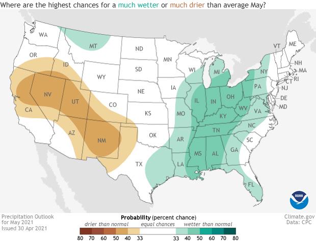 May, 2021, precipitation outlook