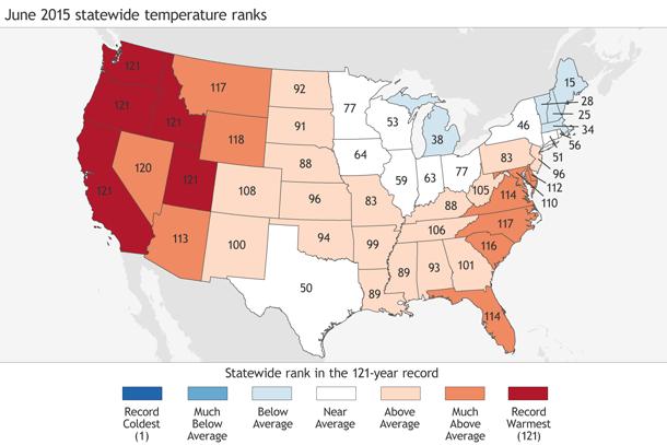 Statewide temperature ranks