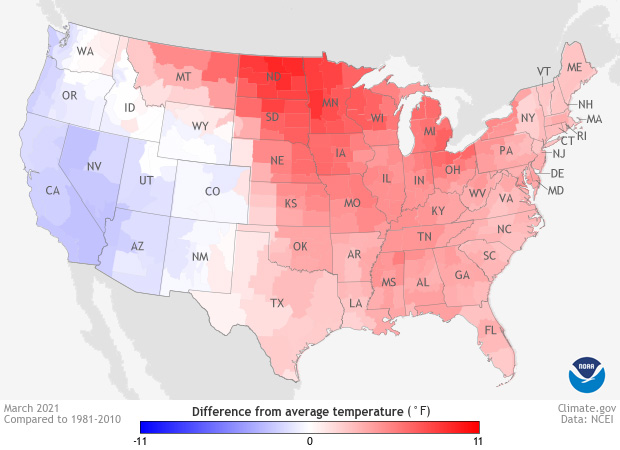 Map of temperatures across the U.S. in March 2021 compared to the 1981-2010 average