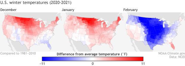 US maps of temperature anomalies in Dec 2020, Jan 2021, and Feb 2021