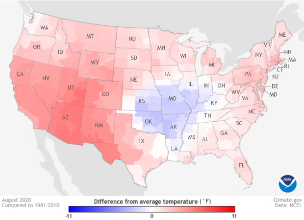Temperature patterns across the Lower 48 US states in August 2020