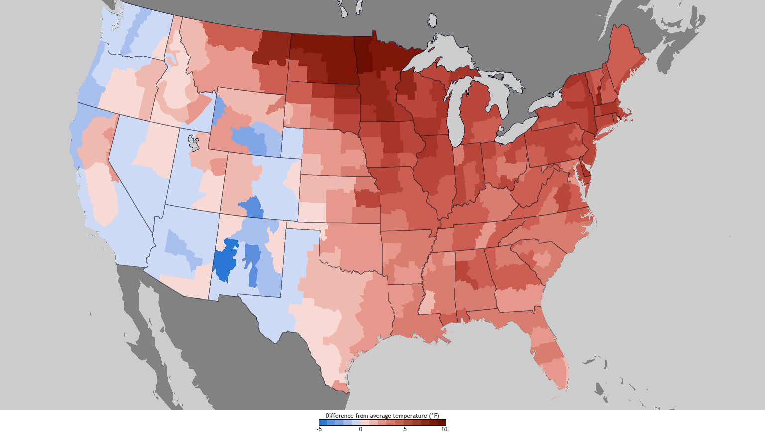 US Has Fourth Warmest Winter On Record West Southeast Drier - Januaray temperatures us map