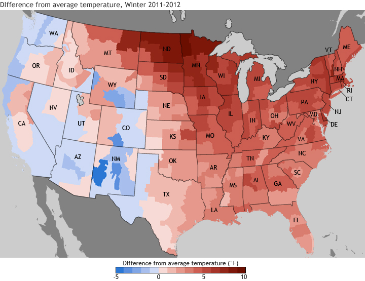 Map of U.S. temperature anomalies for winter 2012