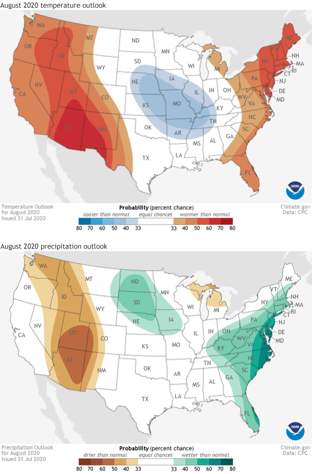 outlook, precipitation, temperature, August
