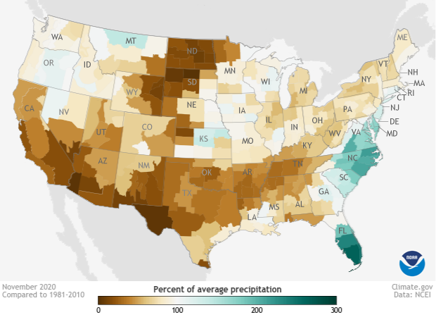 Percent of average US precipitation in November 2020