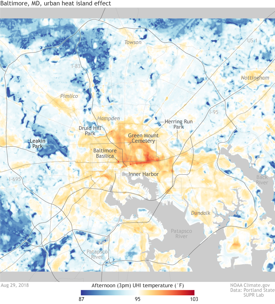 Detailed maps of urban heat island effects in Washington, DC, and ...