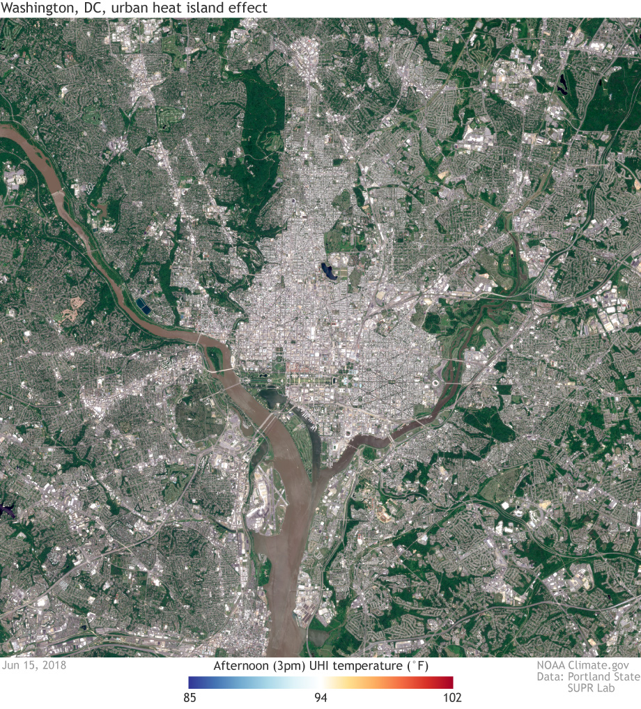 Detailed maps of urban heat island effects in Washington, DC ... on