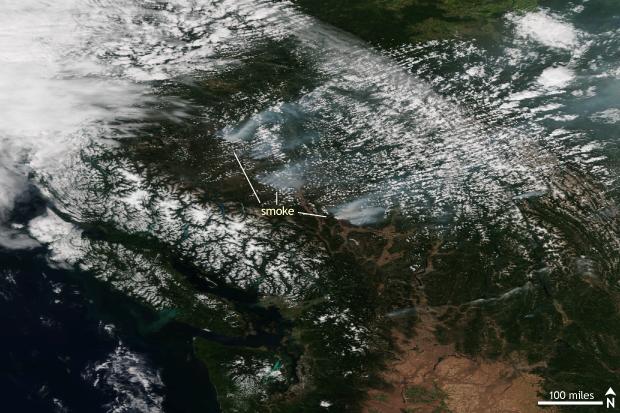 VIIRS, Suomi, Satellite, wildfire, British Columbia
