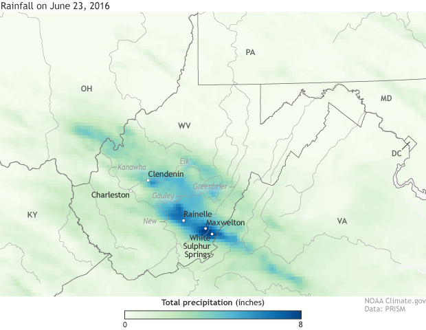 Map of June 23, 2016, rainfall totals during the West Virginia floods