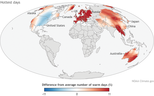 Global difference in frequency of warmest days 2014