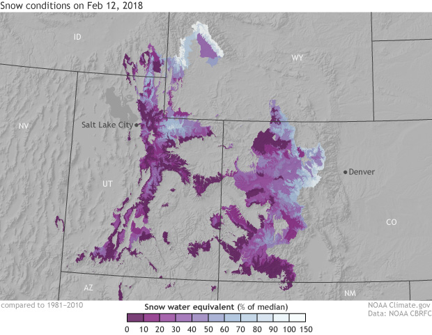 Rocky Mountains, Snow, Snow water equivalent, winter
