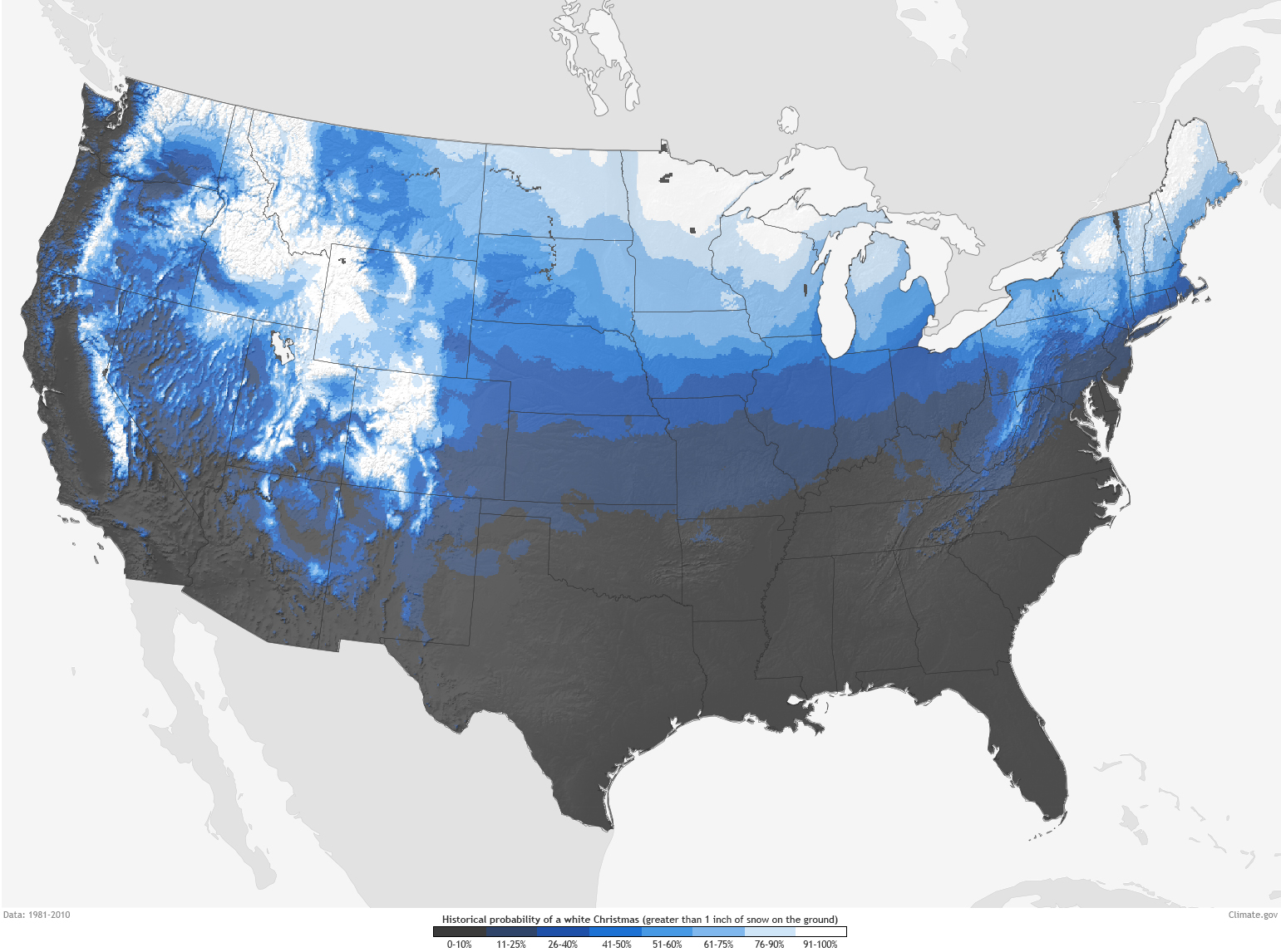 Are You Dreaming Of A White Christmas NOAA Climategov - Us map color