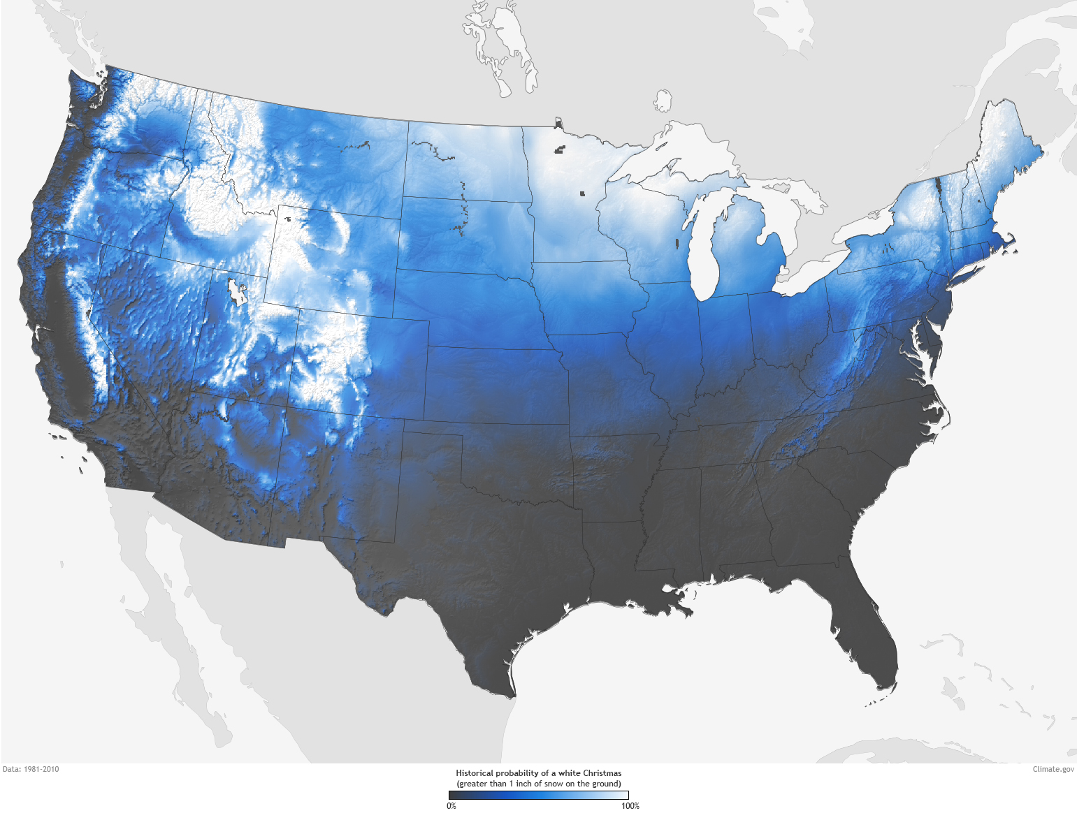 Are You Dreaming Of A White Christmas NOAA Climategov - Us weather map noaa
