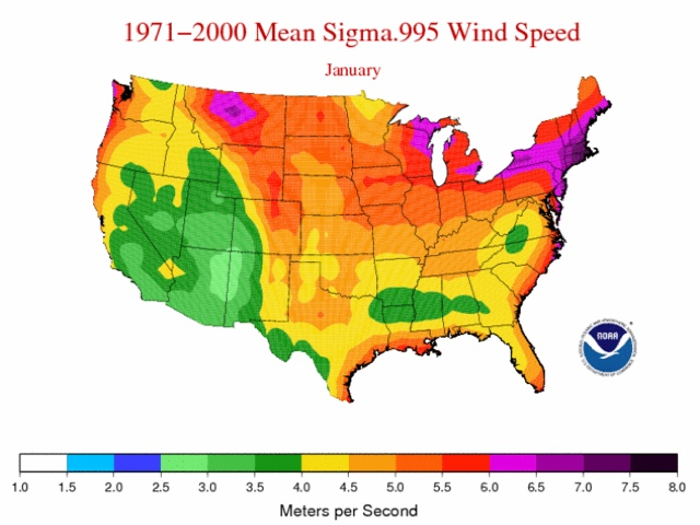 Average Wind Speeds Map Viewer NOAA Climategov - Us wind speed map