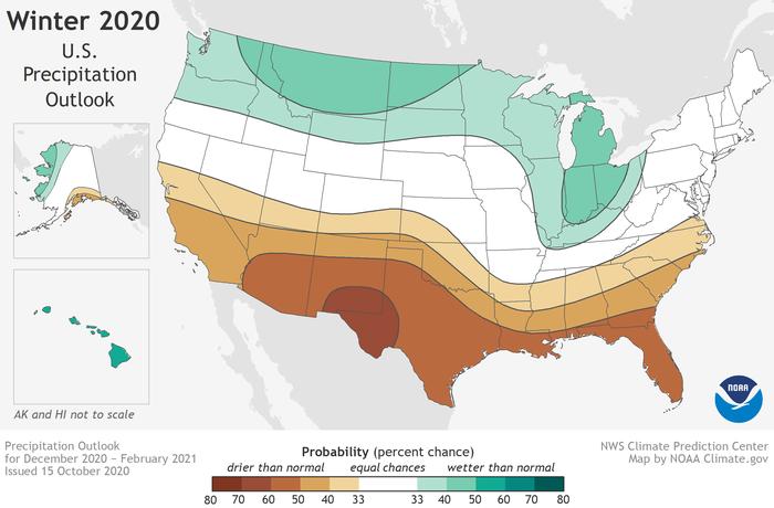 Favored precipitation conditions in the U.S. for winter 2020-21