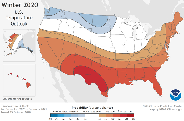 Favored temperature conditions in the U.S. for winter 2020-21