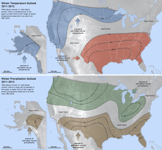 Maps show winter temperature and precipitation outlooks for 2011-2012