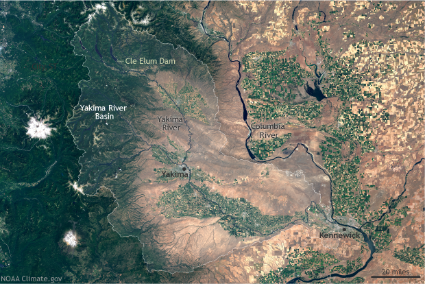 Yakima River Basin Satellite Map