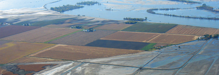 Aerial view of flooding along Missouri River, flooded farms