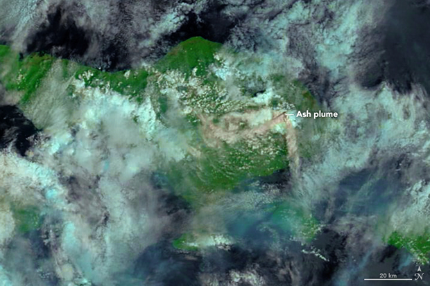 Satellite, MODIS, NASA, Ash, Mt. Agung, volcano