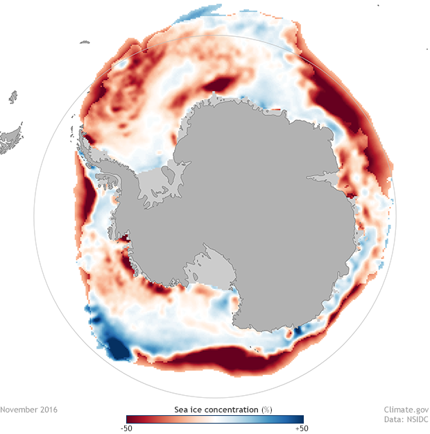 November 2016 Antarctic sea ice concentration anomalies