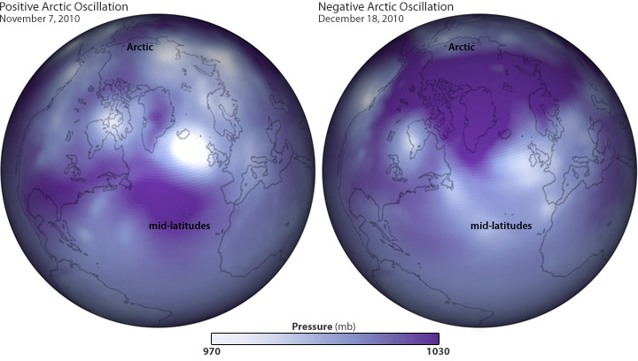 Two globes showing pressure patterns