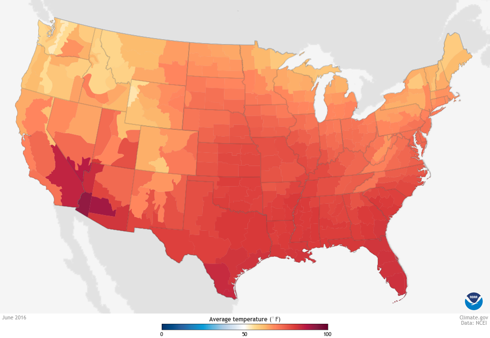 June Is Warmest June On Record For US NOAA Climategov - Us map temperature