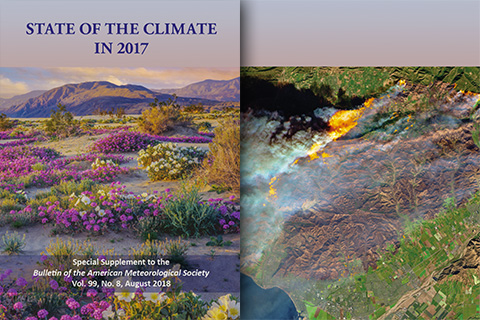 browse images of the front and back covers of the 2017 BAMS State of Climate report