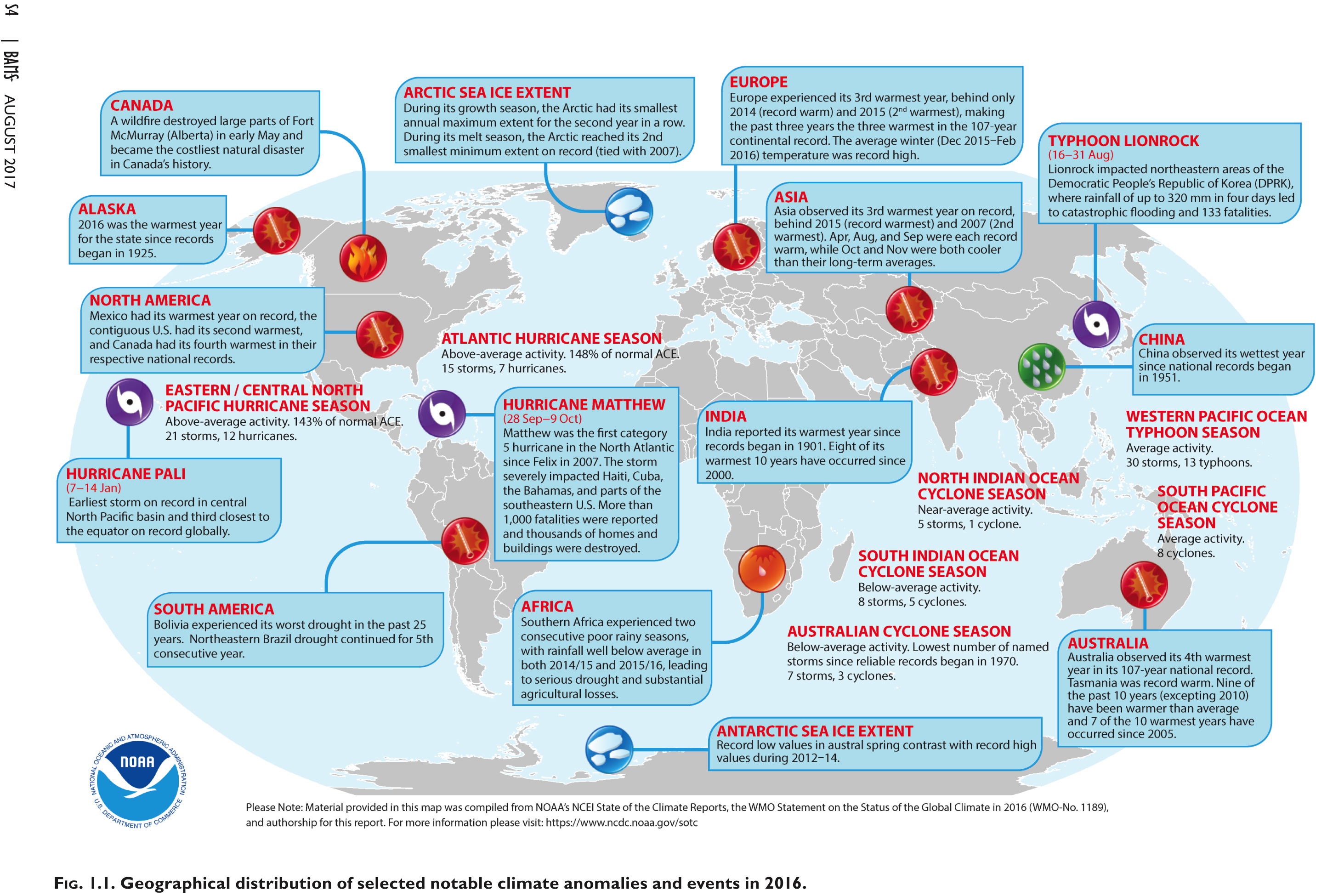 The image above highlights the various climate events in 2016. Significant and extreme weather anomalies are included.