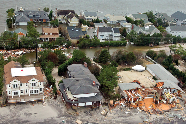 flooded houses on Breezy Point following Hurricane Sandy