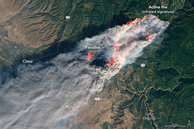 A photo-like satellite image of the Camp Fire with a huge plume of smoke drifting southwest.