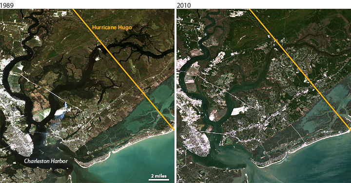 Comparison of Landsat satellite images of Charleston, SC, in 1989 and 2010