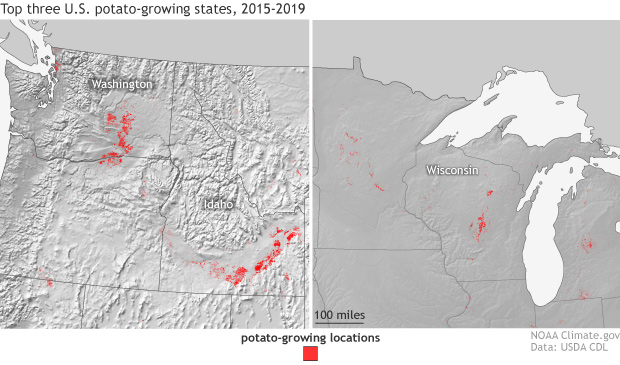 Top three U.S. potato-growing states, 2015-2019