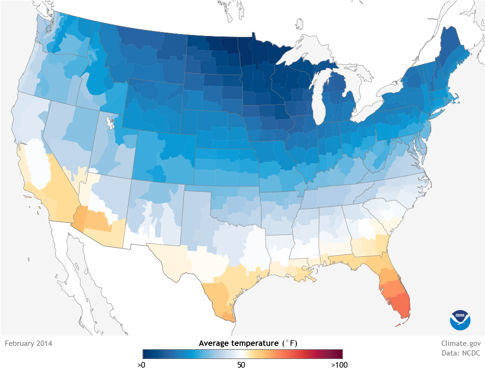 Data Snapshots February Average Temperature NOAA Climategov - Average winter temperature in arizona