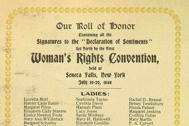 Scan of the signature page from the Declaration of Sentiments