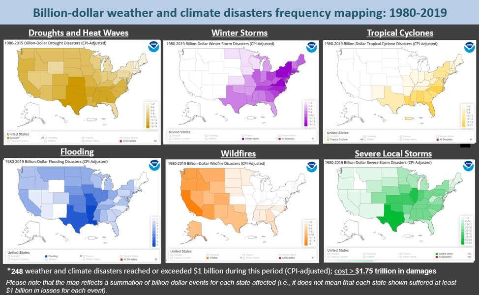 Six small U.S. state maps showing billion-dollar disasters by event type