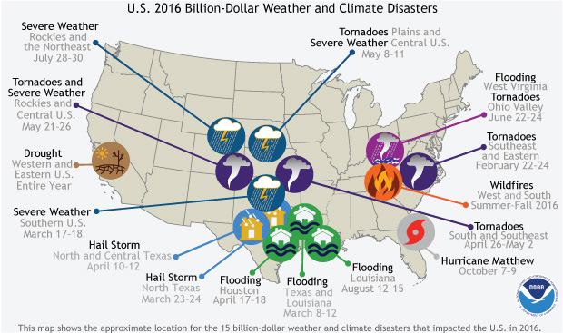 Map Of The Us With Icons Showing Location And Type Of 2016 S Billion Dollar Disasters