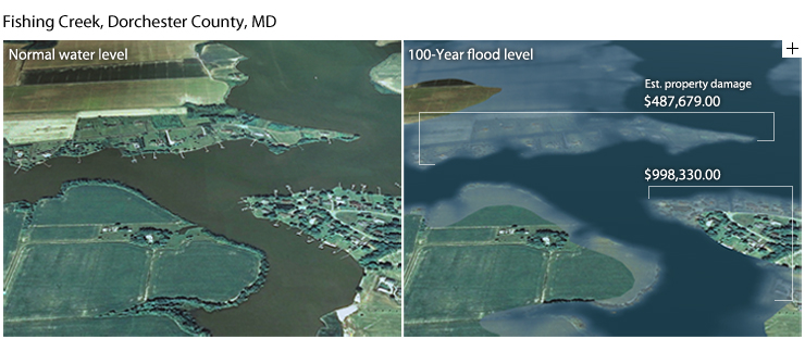 Visualization of inundation and estimated economic costs