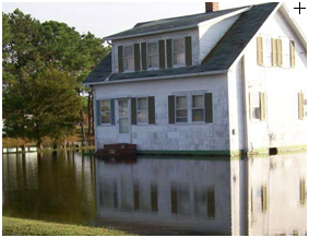 House in standing flood water