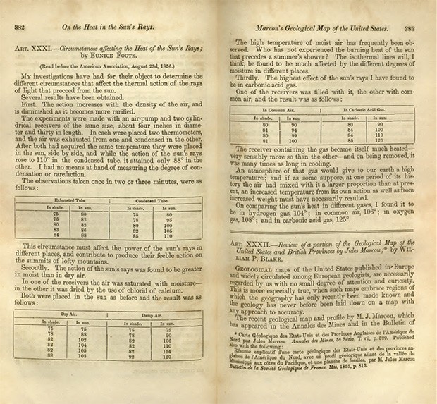 Scan of yellowed pages of Foote's 1856 paper