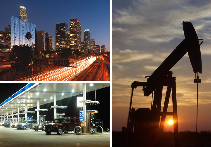 Photo montage depicting city light, gasoline pump, and oil rig
