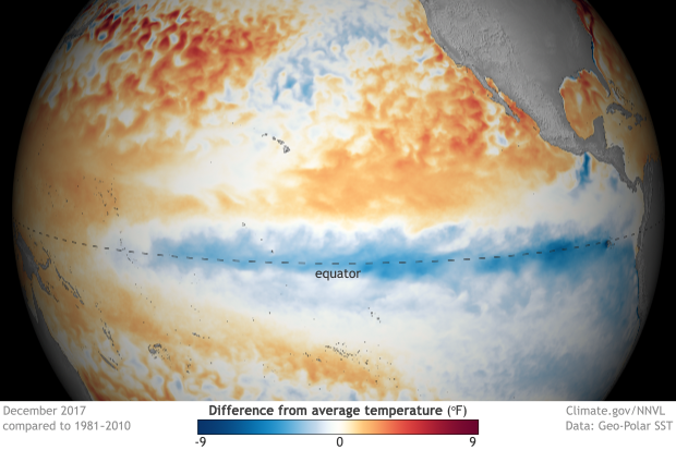 map of departure from average sea surface temperature in the tropical Pacific Ocean showing cool anomalies near the equator