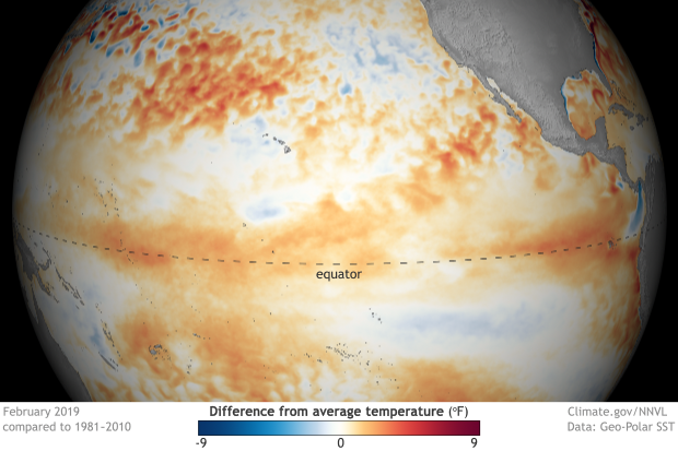 Globe-style map of the tropical Pacific Ocean showing difference from average temperature in February 2019