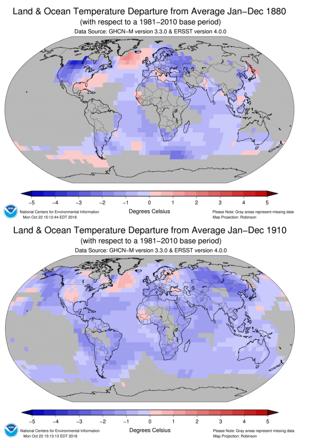Double Panel image showing annual temperatures from 1880 and 1910