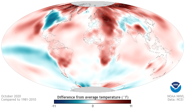 Global temperature anomalies, October 2020