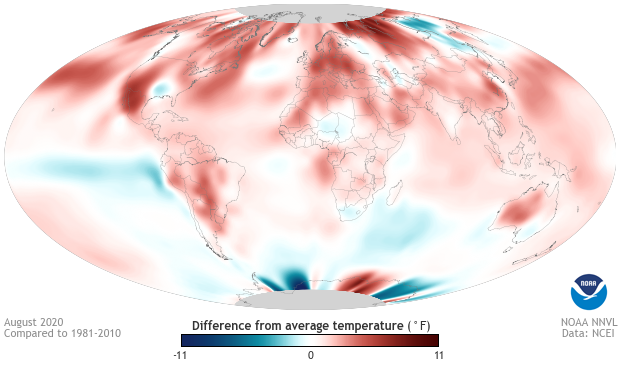 August global temperature anomaly