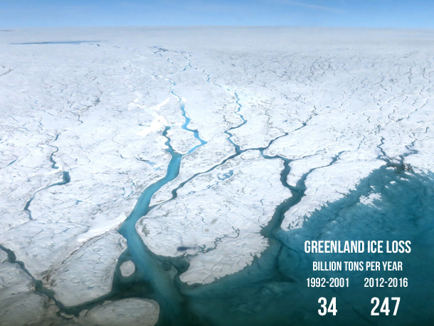 Photo of melt streams on the Greenland Ice Sheet in summer 2015