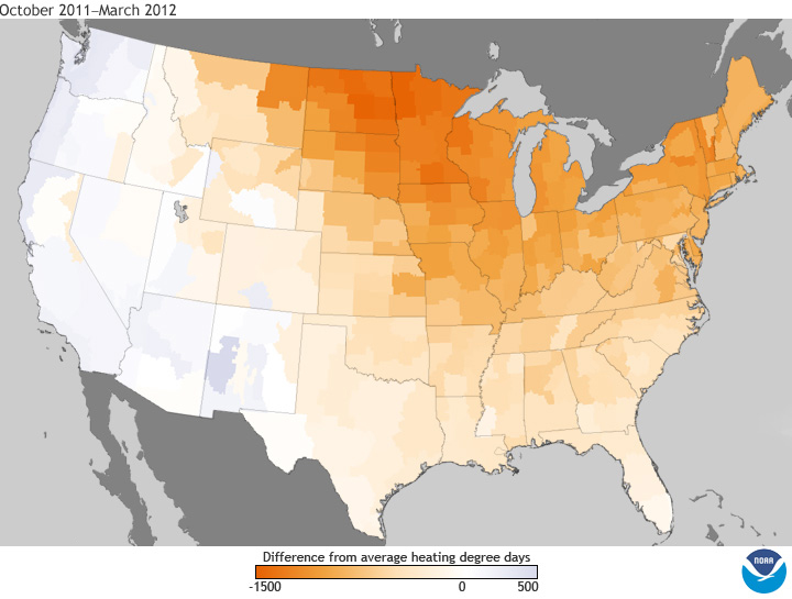 U.S. map showing heating degree day anomaly